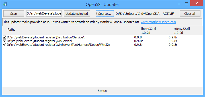 Screen shot of Open SSL updater